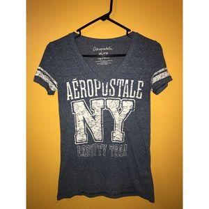 Aeropostale cotton light blue V neck t shirt